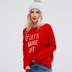 "NWT ASOS ""let's make out"" holiday knit sweater"